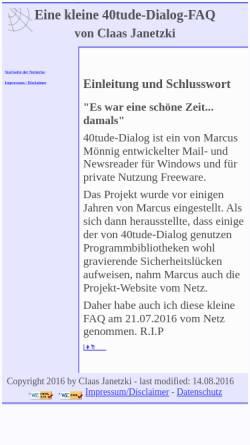 Vorschau der mobilen Webseite www.cj-web.de, 40tude-Dialog-FAQ (Claas Janetzki)