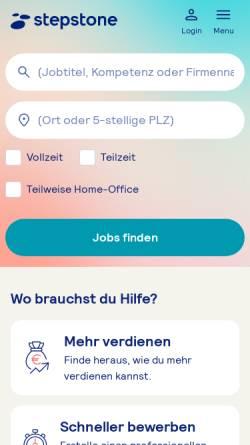 Vorschau der mobilen Webseite www.stepstone.de, Stepstone