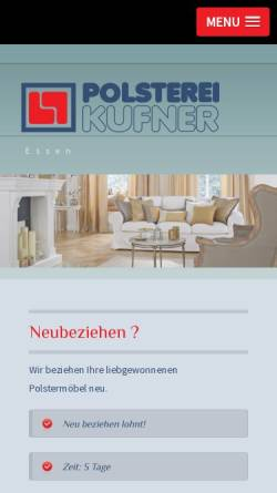 Vorschau der mobilen Webseite www.polsterei-kufner.de, Polsterei Kufner