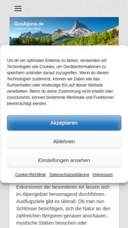 Vorschau der mobilen Webseite www.geoalpina.de, Geoalpina
