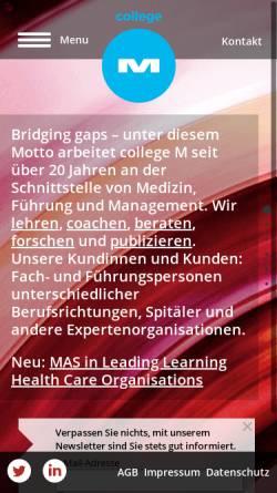 Vorschau der mobilen Webseite www.college-m.ch, College-M