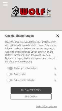Vorschau der mobilen Webseite www.holzstative.de, Wolf-Messtechnik GmbH