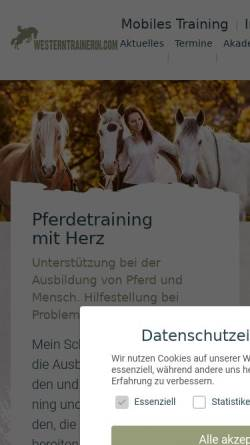Vorschau der mobilen Webseite www.westerntrainerin.com, Sandra Schneider