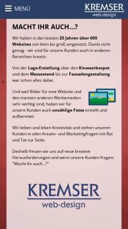 Vorschau der mobilen Webseite www.kremser.at, Kremser webdesign multimedia