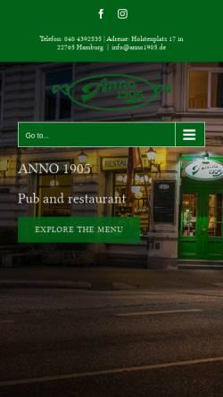 Vorschau der mobilen Webseite www.anno1905.de, Anno 1905 Schank- und Speisewirtschaft