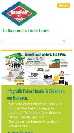 Vorschau der mobilen Webseite www.banafair.de, BanaFair - Die krumme Welt der Banane