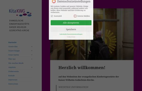 Vorschau von www.kita-kwg.de, Kindertagesstätte der Evangelischen Kaiser-Wilhelm-Gedächtnis-Kirchengemeinde