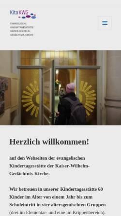 Vorschau der mobilen Webseite www.kita-kwg.de, Kindertagesstätte der Evangelischen Kaiser-Wilhelm-Gedächtnis-Kirchengemeinde