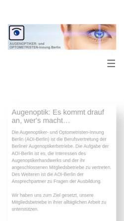 Vorschau der mobilen Webseite www.aoi-berlin.de, Augenoptiker-Innung Berlin