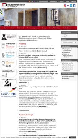 Vorschau der mobilen Webseite www.baukammerberlin.de, Baukammer Berlin