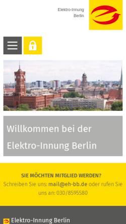 Vorschau der mobilen Webseite www.elektroinnung-berlin.de, Elektro Innung Berlin