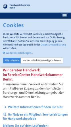Vorschau der mobilen Webseite www.hwk-berlin.de, Handwerkskammer Berlin
