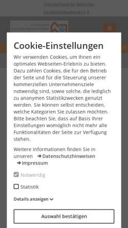 Vorschau der mobilen Webseite www.dachdecker.de, Landesinnung des Dachdeckerhandwerks Berlin
