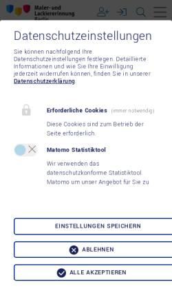Vorschau der mobilen Webseite www.malerinnung-berlin.de, Maler- und Lackiererinnung Berlin