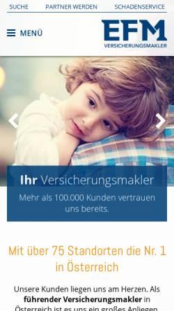 Vorschau der mobilen Webseite www.efm.at, EFM Versicherungsmakler AG