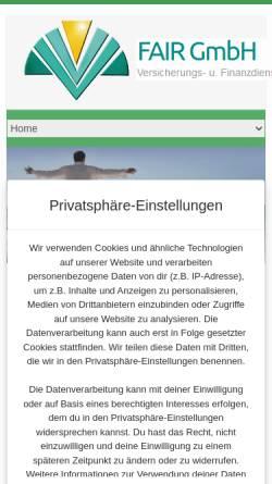 Vorschau der mobilen Webseite www.fair-gmbh.at, FAIR Versicherungs- Finanzdienstleistungs- Beratungs- GmbH