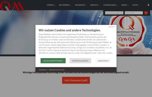Vorschau von www.oevm.at, Österreichische Versicherungsmaklerring