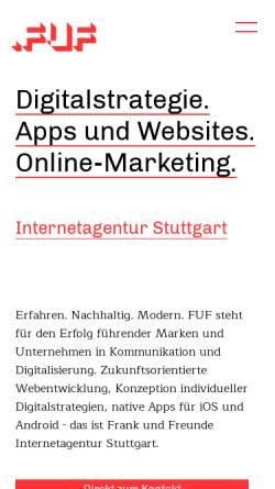 Vorschau der mobilen Webseite www.fuf.de, FUF // Frank und Freunde GmbH