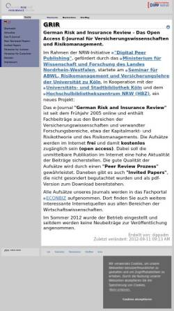 Vorschau der mobilen Webseite www.risk-insurance.de, German Risk and Insurance Review