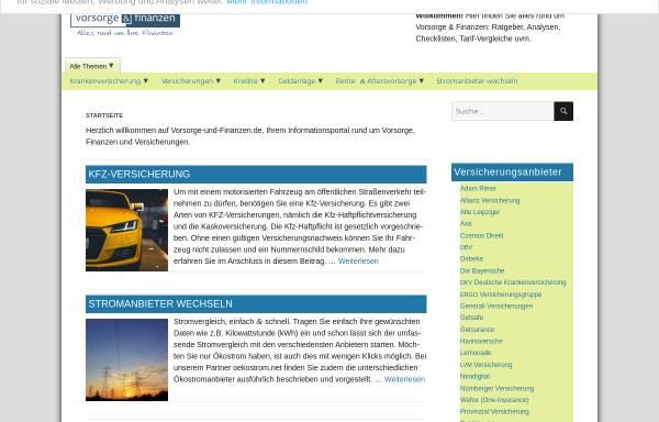 Vorschau von www.vorsorge-und-finanzen.de, Vorsorge & Finanzen