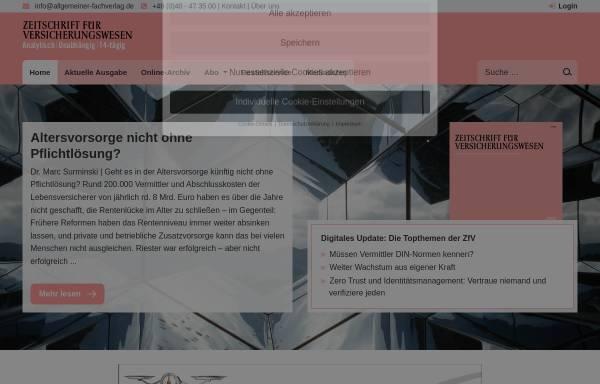 Vorschau von www.allgemeiner-fachverlag.de, Zeitschrift für Versicherungswesen