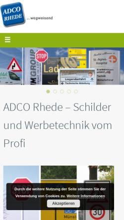 Vorschau der mobilen Webseite www.adco-rhede.de, ADCO Schilderfabrik GmbH