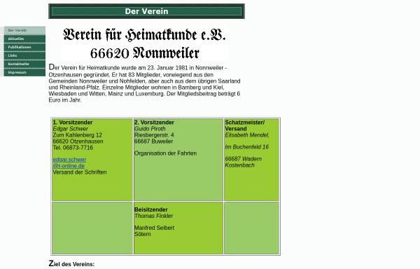 Vorschau von www.heimatkunde-nonnweiler.de, VHK Verein für Heimatkunde e.V.