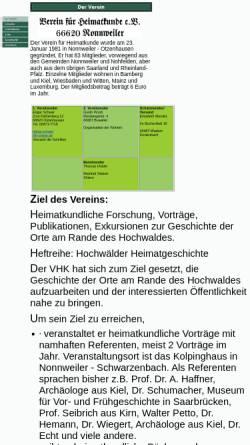 Vorschau der mobilen Webseite www.heimatkunde-nonnweiler.de, VHK Verein für Heimatkunde e.V.