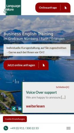 Vorschau der mobilen Webseite www.languageandmore.de, Language and More