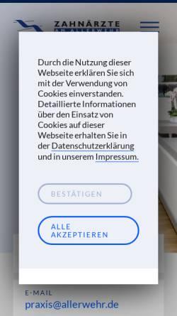 Vorschau der mobilen Webseite www.zahnaerzte-am-allerwehr.de, Pütz, Dr. med. dent. Günter und Scholz, Dr. med.dent. Joachim