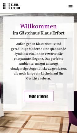 Vorschau der mobilen Webseite www.gaestehaus-erfort.de, Gästehaus Klaus Erfort
