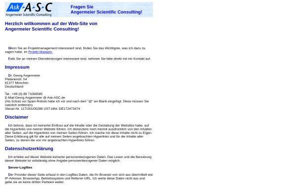 Vorschau von www.ask-asc.de, Angermeier Scientific Consulting, Inh. Dr. Georg Angermeier