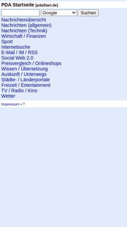 Vorschau der mobilen Webseite www.pdastart.de, PDA Startseite