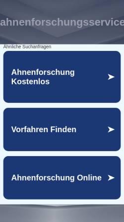 Vorschau der mobilen Webseite www.ahnenforschungsservice.de, Ahnenforschungsservice.de Nancy Myers & Georg Palmueller