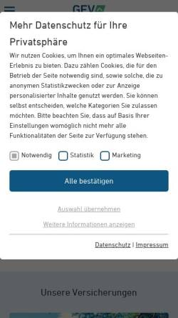 Vorschau der mobilen Webseite www.gev-versicherung.de, Grundeigentümer Versicherungen