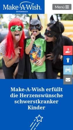 Vorschau der mobilen Webseite www.make-a-wish.at, Make A Wish Foundation Austria