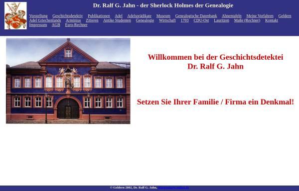 Vorschau von www.adel-genealogie.de, Dr. Ralf G. Jahn - der Sherlock Holmes der Genealogie