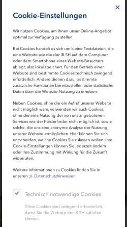 Vorschau der mobilen Webseite www.ib-sh.de, Investitionsbank Schleswig Holstein
