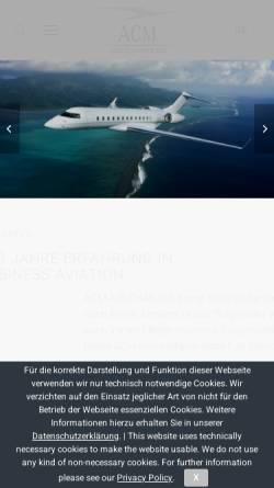 Vorschau der mobilen Webseite www.acm-air-charter.de, ACM Air Charter Luftfahrtgesellschaft mbH
