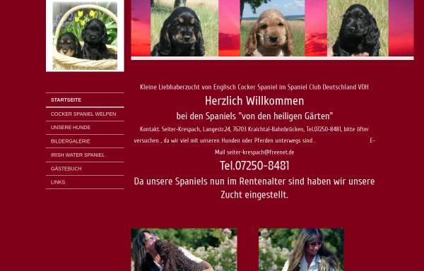 Vorschau von www.irishwater-und-englischcocker-spaniels.de, Von den heiligen Gärten