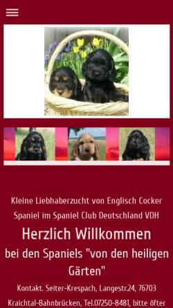 Vorschau der mobilen Webseite www.irishwater-und-englischcocker-spaniels.de, Von den heiligen Gärten