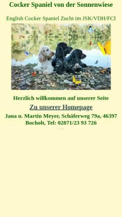 Vorschau der mobilen Webseite www.cocker-sonnenwiese.de, Von der Sonnenwiese