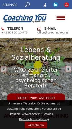 Vorschau der mobilen Webseite www.coachingyou.at, CoachingYou - Gabriela Schildbach