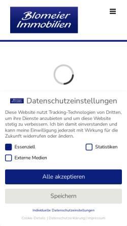 Vorschau der mobilen Webseite www.blomeier-immo.de, Blomeier Immobilien, Bünde
