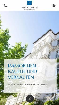 Vorschau der mobilen Webseite www.brandwein-immobilien.de, Brandwein Immobilien GmbH, Herford