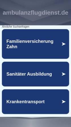 Vorschau der mobilen Webseite www.ambulanzflugdienst.de, Ambulanzflugdienst Augsburg
