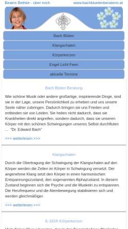Vorschau der mobilen Webseite www.bachbluetenberaterin.at, Dipl.Ing. Beatrix Bethke - Bachblütenberaterin