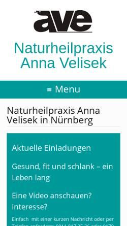 Vorschau der mobilen Webseite www.heilpraktikerin-anna-velisek.de, Naturheilpraxis und Seminarzentrum Anna Velisek