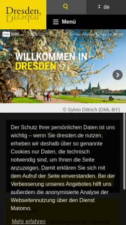 Vorschau der mobilen Webseite www.dresden.de, Dresdner Fremdenverkehrsbüro