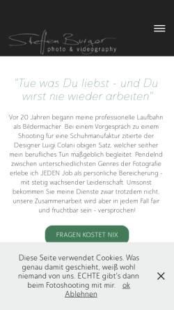 Vorschau der mobilen Webseite steffenburger.de, Steffen Burger - Fotografie